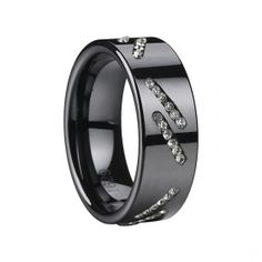 8mm Black Ceramic Ring With Double Slashes CZ - Tungstenjewellry.com
