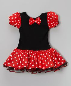 Black & Red Polka Dot Skirted Leotard