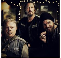Piney, Chibs and Opie. Not going to lie, Opie's smirk is too cute!