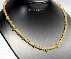Citrin - Citrin Peridot Kette 925er Silber - ein Designerstück von FineArt-Loomis bei DaWanda
