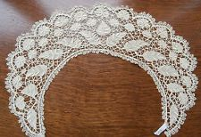LOVELY VINTAGE BEIGE COTTON MALTESE BOBBIN LACE LADIES COLLAR