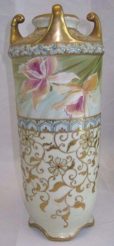 Nippon Jeweled Iris Vase with Morimoto Mark