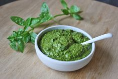 Dairy Free Basil Pesto Recipe Condiments and Sauces with basil leaves, extra-virgin olive oil, pinenuts, garlic cloves, sea salt