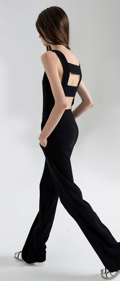 Get them to stare as you walk away in this A.L.C. 'Reed' Cutout-Back Crepe Wide-Leg Jumpsuit. #Style