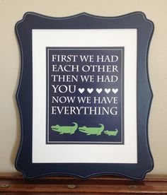 Navy Blue and Green Alligator Nursery Quote Print  by LJBrodock, $10.00 Pottery barn nursery, alligator nursery decor, alligator print, pottery barn alligator