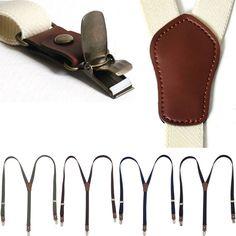 Mens Womens Clip Leather Elastic Suspenders Y-Shape Thin Adjustable Retro Braces #hellobincom