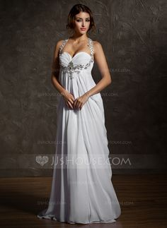 Wedding Dresses - $168.99 - Empire Sweetheart Sweep Train Chiffon Wedding Dress With Ruffle Beadwork (002011570) http://jjshouse.com/Empire-Sweetheart-Sweep-Train-Chiffon-Wedding-Dress-With-Ruffle-Beadwork-002011570-g11570