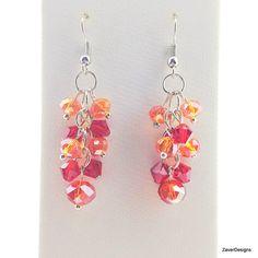 Red Cluster Earrings Orange Earrings Red Earrings by ZaverDesigns