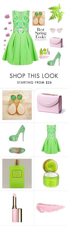 """Green Pink - Evangelos Earrings"" by evanangel ❤ liked on Polyvore featuring Lauren Cecchi, H&M, Marc Ellis, Notte by Marchesa, Bond No. 9, Clarins, By Terry and Le Specs"
