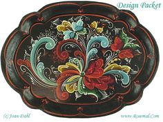 Telemark Tray Authentic Rosemaling Design from Telemark Created by Joan Dahl…