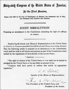 House Joint Resolution 1 proposing the 19th amendment to the states, 1919.