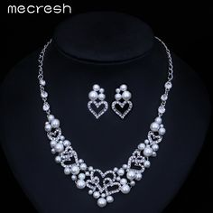 Mecresh Simulated Pearl Wedding Jewelry Sets Heart Crystal Earrings Necklace Bridal Jewelry Accessories for Women TL250