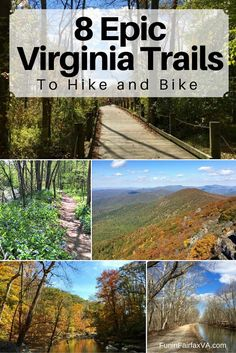 These 8 epic Virginia trails offer gorgeous scenery interesting history and a variety of hike and bike options all within 2 hours of Washington DC Bike trails hiking th. Appalachian Trail, Appalachian Mountains, Bike Trails, Hiking Trails, Biking, Weekend Trips, Day Trips, Hiking In Virginia, Virginia Usa