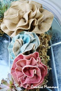 "easy shabby burlap flowers from 3"" ribbon- note some ribbon is lightly spray painted beforehand"
