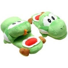 Super Mario Brothers: Green Yoshi Slippers Plush « Holiday Adds