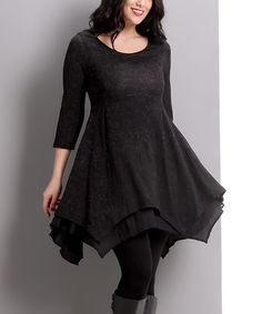Reborn Collection Black Damask Layered Handkerchief Tunic - Plus | zulily