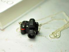 SLR Camera(Nikon D90) miniature necklace. $15.00, via