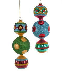 """Katherine's Collection Noel Christmas Collection Six Assorted 9"""" Noel Glass Triple Ball Ornaments Free Ship"""