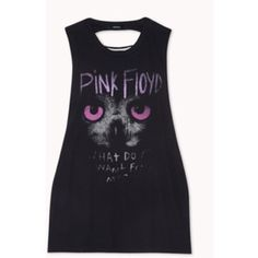 Pink Floyd Tank 100% cotton pink Floyd tank with cutouts on back. Very wide arm holes. Tag with size was ripped off but it's a size large. No trades ❌, offers welcome. Any other questions feel free to ask! Happy poshing !  Forever 21 Tops Tank Tops