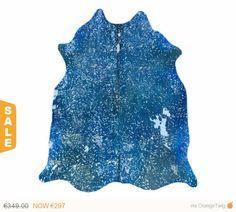 Alfombra Piel de Vaca Acid Wash Plata / Azul por PuraSpain en Etsy