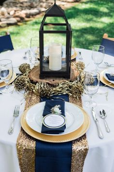 55 Elegant Navy And Gold Wedding Ideas | Wedding table settings ...