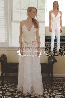 Spaghetti wedding jumpsuit with detachable lace dress wps-069