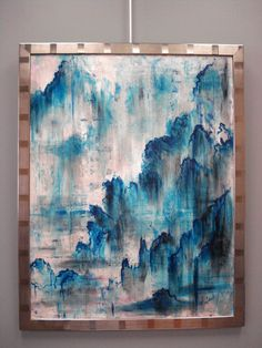 """Original Painting """"Mandarin Blue"""", Asian Inspired Abstract Landscape, 28 x 36"""" on Etsy, $950.00"""