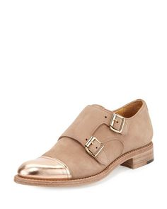 Mr. Colin Suede Double-Monk Oxford, Desert Sand by The Office of Angela Scott at Neiman Marcus.