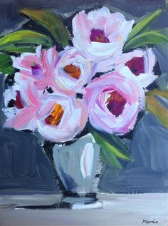 Abstract Peonies Painting on Canvas by DevinePaintings on Etsy