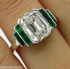 RESERVED... GIA 4.46 Antique Vintage Deco Emerald cut Diamond