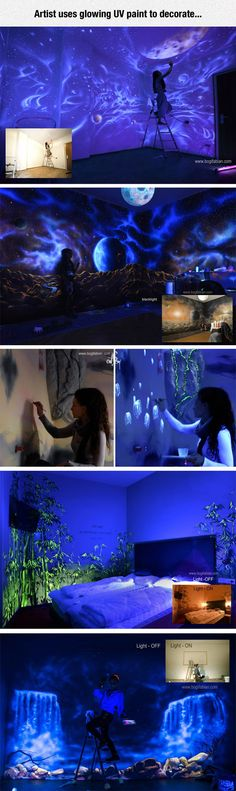 The jellyfish! An Amazing Decoration With UV Glowing Paint In Your Home.