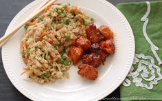 clean eating fried rice and baked sweet and sour chicken