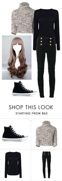 """""""Mystic messenger : MC"""" by the-mighty-fail ❤ liked on Polyvore featuring Converse, Brunello Cucinelli, Helmut Lang and Balmain"""