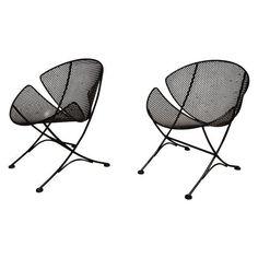 "Image of Salterini ""Slice' Wrought Iron Chairs - Pair"