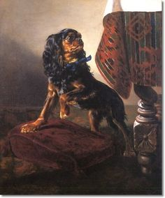 DAHL, Sigwald Johannes (1827-1902, Norwegian) Description: Black and tan Cavalier King Charles by a draped table, s.d.1860 Oil Painting (24x28in).