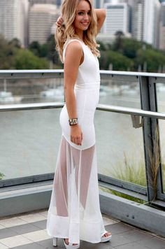 Contrast Sheer Mesh White Dress