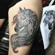 Gorgeous horse tattoo by @lovetattoostudio
