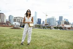 printed jumpsuit / gold cross body bag (today on chicityfashion.com)