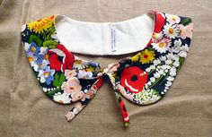 Items similar to peterpan collar - colorful blossom flowers - multiple sizes on Etsy Collar And Cuff, Collar Necklace, Sewing Clothes, Diy Clothes, Coin Couture, Peter Pan Collars, Collar Designs, Refashion, Fashion Details