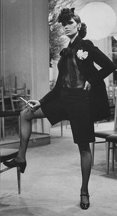 The muse of late French designer Yves Saint Laurent, Danielle Luquet de St Germain, who inspired his 'le smoking' tuxedo for women