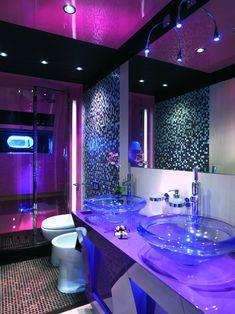 Home Discover Luxury Bathroom Design Ideas - Best Home Decors Dream Bathrooms, Dream Rooms, Purple Bathrooms, Teen Bathrooms, Purple Rooms, Neon Room, Yacht Interior, Luxury Interior, Purple Interior