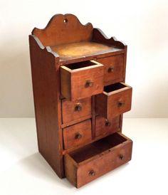 Antique Primitive Spice Cabinet Chest