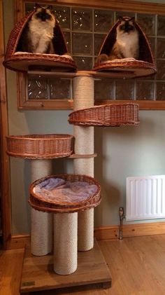 DIY idea for using baskets on a cat tree