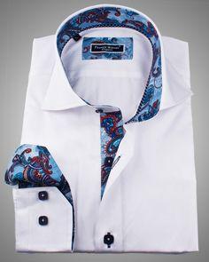 Italian shirts for men | Saint Tropez white slim fit shirt for men