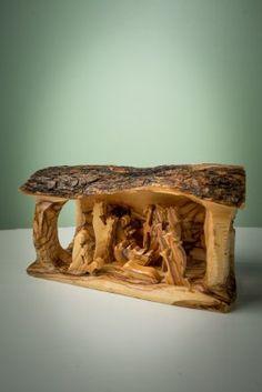Nativity - Olive Wood Large Log Nativity:Amazon:Home & Kitchen