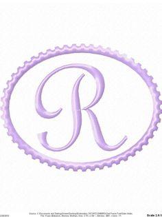 Oval Design Machine Embroidery Monogram Font Set  4x4 Hoop