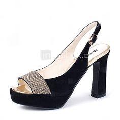 0c067608382 [$49.99] Women's Suede Summer Slingback Chunky Heel Sparkling Glitter /  Buckle Black