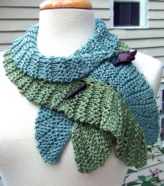 Knitting Pattern for Twirling Leaf Scarf - Wavy scarf knit with short rows (wrap & turn), worked in garter stitch. you can knit to whatever length you want. Designed by DawnBroccoDesigns