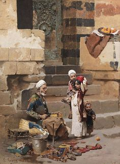 The old shoe maker Cairo by Raphael von Ambros: The interplay with the children makes this a charming paiting.