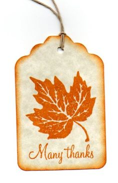 Gift Tags Thank You Tags Wedding Favor Tags Shower Tags Fall Leaf Tags Vintage Autumn Orange Leaf